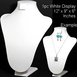 "1pc Bust Display Stand Necklace Earring Holder White 12"" Ds219"