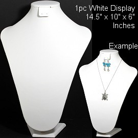 "1pc Bust Display Stand Necklace Earring Holder White 14.5"" Ds221"