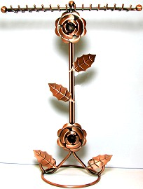 "Bronze Flower Display Necklace Bracelet Stand 13x10"" Ds38"