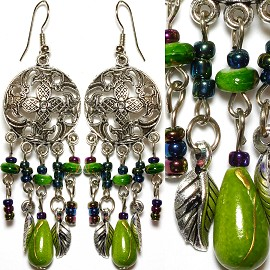 Earrings Bead Antique Silver Apple Green EB244