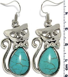 Turquoise Earring Cat Silver EB394