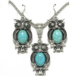 Thin Necklace Earrings Set Owl Silver Turquoise FNE004