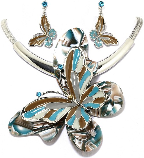 "18"" Necklace Earring Set Jumbo Butterfly Silver Multi TBG FNE008"