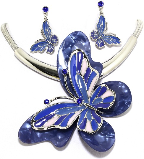 "18"" Necklace Earring Set Jumbo Butterfly Silver Multi Blu FNE010"