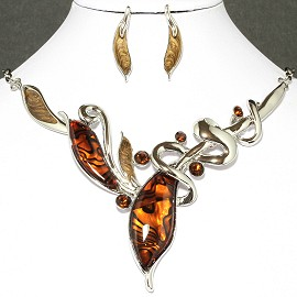 Necklace Earrings Set Leaf Silver Orange FNE014