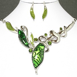Necklace Earrings Set Leaf Silver Green FNE015