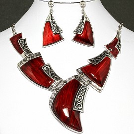 Necklace Earrings Set Tooth Red Silver FNE016