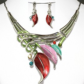 Necklace Earrings Set Leaf Multi Color Silver FNE017