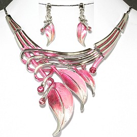 Necklace Earrings Set Pink Silver Leaf FNE019