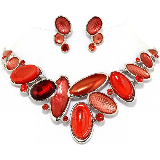 "19"" Necklace Earring Set Oval Gem Red Silver Tone FNE023"