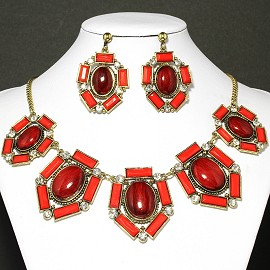 Necklace Earrings Set Oval Red Antique Gold FNE026