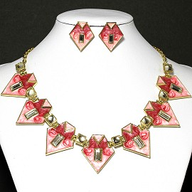 Necklace Earrings Set Arrowhead Pink Red FNE029