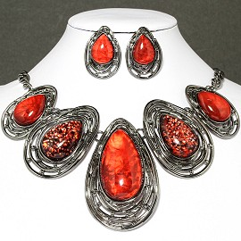Necklace Earring Set Oval Tear Gray Red FNE031