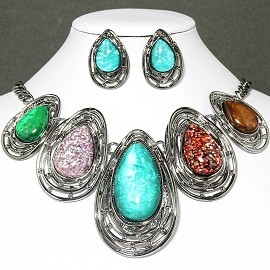 Necklace Earring Set Teardrop Gray Turquoise Multi Color FNE033