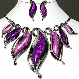 Necklace Earrings Set Leaves Gray Purple FNE036