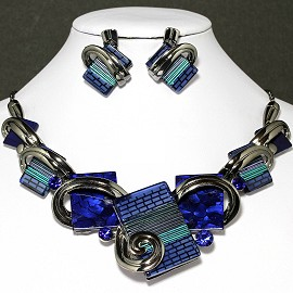 Necklace Earrings Set Rectangle Gray Blue FNE038