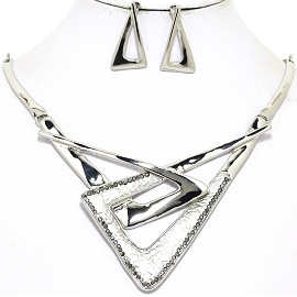 "16""-19"" Necklace Earring Set Triangle Silver Tone FNE046"