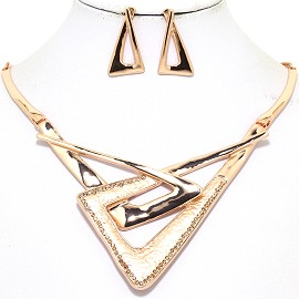 "16""-19"" Necklace Earring Set Triangle Gold Tone FNE047"