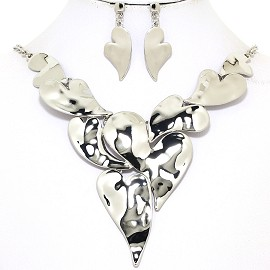 "17""-20"" Necklace Earring Set Curved Hearts Silver Tone FNE050"