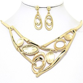 "17""-20"" Necklace Earring Set Oval Curved Gold Tone FNE052"