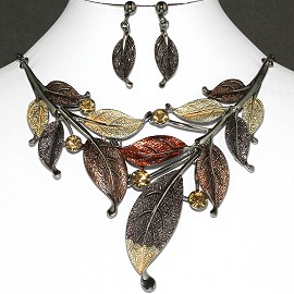 "20"" Necklace Earrings Set Leaf Dark Brown FNE054"