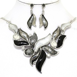 "16""-19"" Necklace Earring Set Leaf Point Gem Black White FNE055"