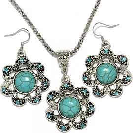 Thin Necklace Earrings Set Flower Rhinestone Turquoise FNE059