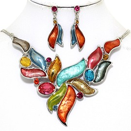 "16""-19"" Necklace Earring Set Leaf Point Gem Multi Color FNE061"