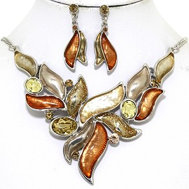 "16""-19"" Necklace Earring Set Leaf Point Gem Brown Tan FNE063"