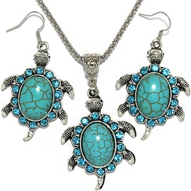 Thin Necklace Earrings Set Turtle Rhinestone Turquoise FNE064