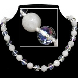 "20"" Necklace Crystal Ball Bead Magnetic Clasp White Clear FNE067"