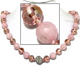 "20"" Necklace Crystal Ball Bead Magnetic Clasp Frost Pink FNE069"