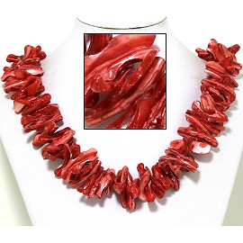 "21"" Necklace Nautical Shell Shards Red FNE075"
