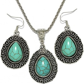 Thin Necklace Earrings Set tear Turquoise FNE079