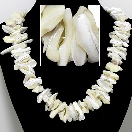 "21"" Necklace Nautical Shell Shards Ivory White FNE084"
