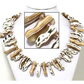 "21"" Necklace Nautical Shell Shards Tan Caramel White FNE087"
