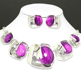 Necklace Earring Set Oval Square Silver Purple FNE093