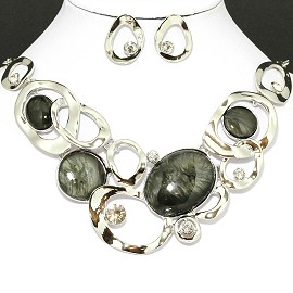 Necklace Earring Set Oval Circle Silver Gray FNE096