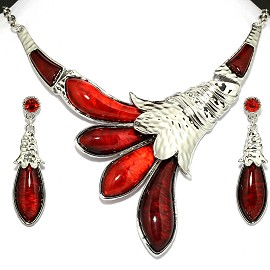 Necklace Earring Set Flower Silver Red FNE099
