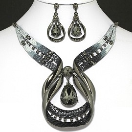 "20""Necklace Earring Set Teardrop Dark gray FNE1000"
