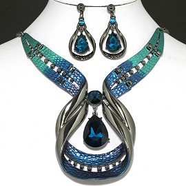 "20""Necklace Earring Set Teardrop Blue FNE1001"
