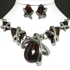 "20""Necklace Earring Dark Brown Set FNE1004"