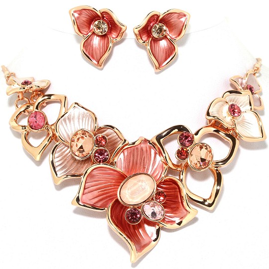 Necklace Earring Set Flower Gems Rhinestone Gold Pink FNE1014