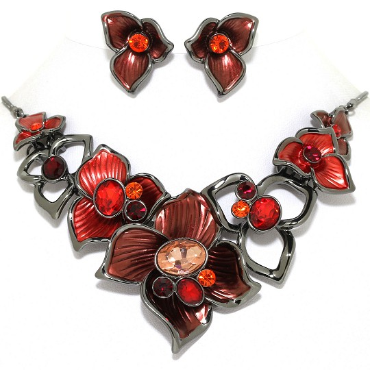 Necklace Earring Set Flower Gems Rhinestone Gray Red FNE1016