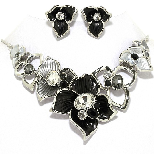 Necklace Earring Set Flower Gems Rhinestone Silver Black FNE1018