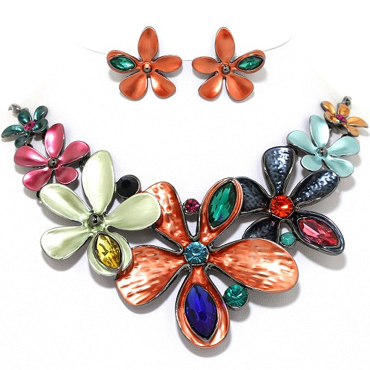 Necklace Earring Set Flower Oval Gems Gray Copper Orange FNE1023