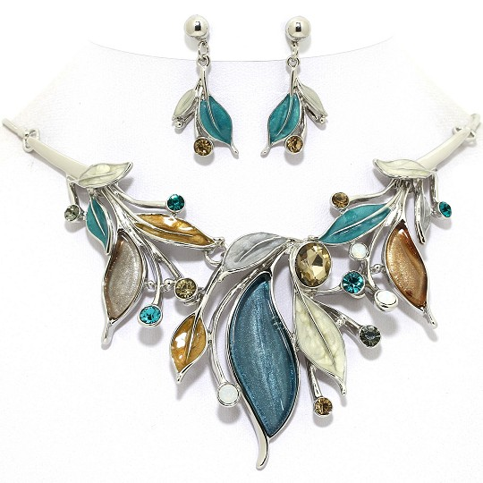 Necklace Earring Set Leaves Rhinestones Silver Teal Turq FNE1026