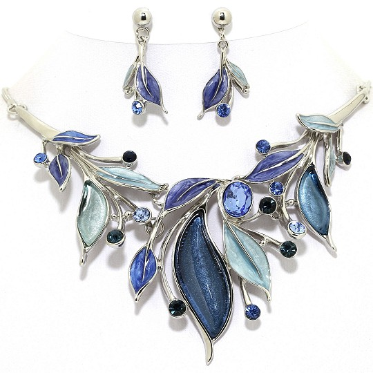 Necklace Earring Set Leaves Rhinestones Silver Blue FNE1030