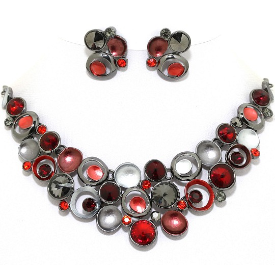 Necklace Earring Set Circles Gem Rhinestone DK Gray Red FNE1032