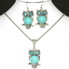Turquoise Necklace Earring Owl FNE1054